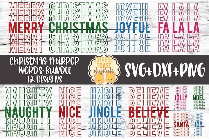 Christmas Mirror Words Bundle - Holiday SVG PNG DXF Cut File