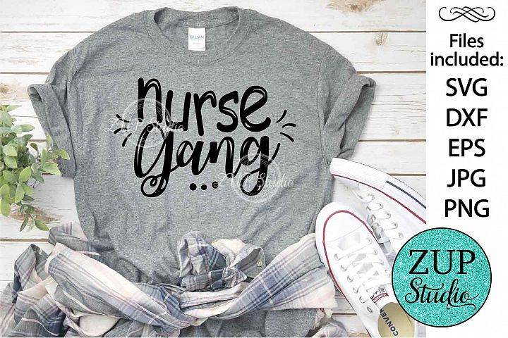 Nurse gang text SVG Design Cutting Files 336