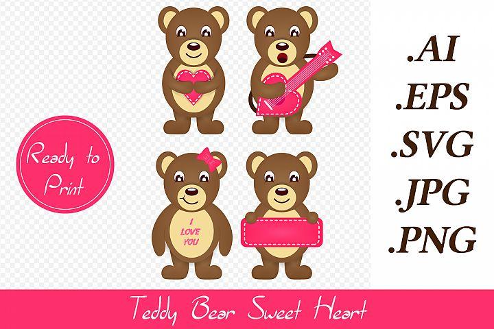 Valentines Teddy bear Cutting File With Transparent BG, SVG