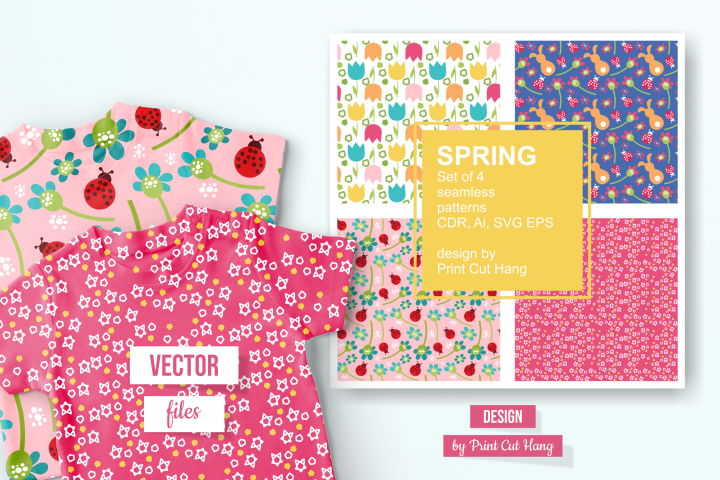 Spring Repeating Patterned Papers Ai, CDR, SVG, EPS
