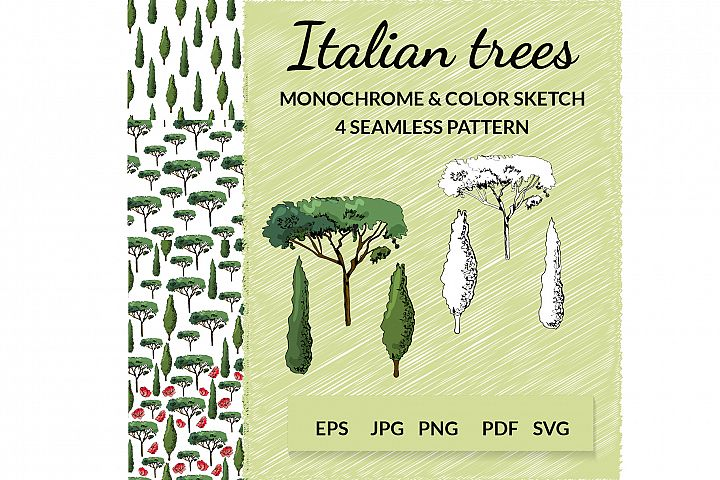 Hand drawn italian trees in sketch style. Vector clipart.