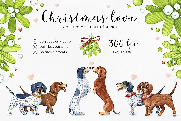 Watercolor illustrations. Dogs Christmas Love. Dachshunds.