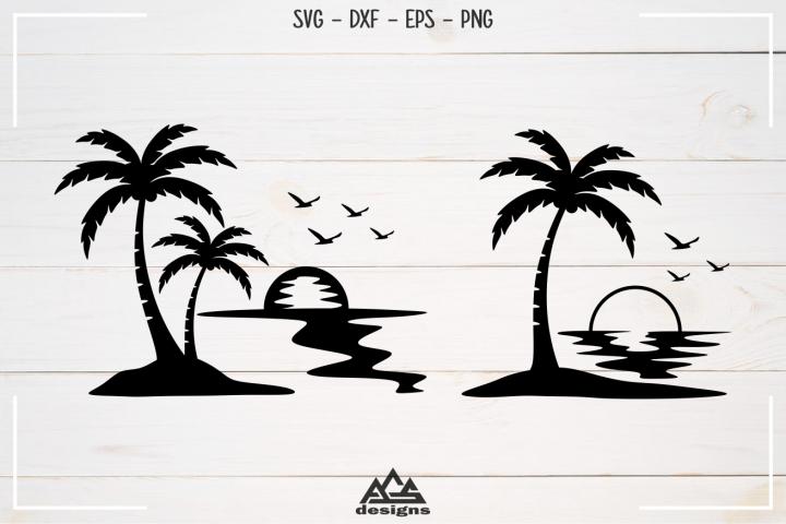 Palm Tree Beach Sunset Svg Design