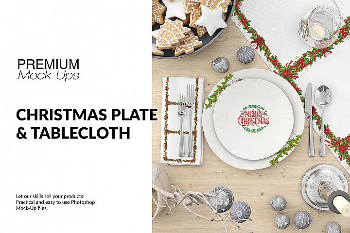 Christmas Plates, Tablecloth & Napkin Set