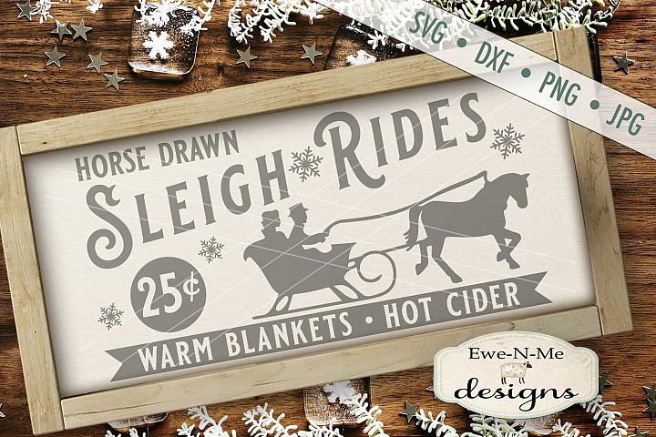 Sleigh Rides Horse Warm Blankets Hot Cider SVG DXF Files