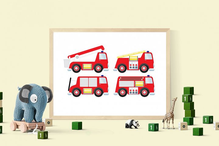 Firetrucks clipart set, Rescue clipart emergency clipart set, fire truck,fire brigade, fire engine download