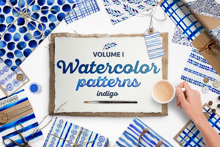 Indigo blue watercolor patterns I
