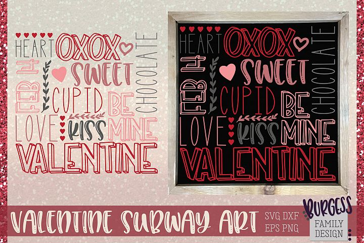 Valentines Day square Subway Art | Cuttable & Printable
