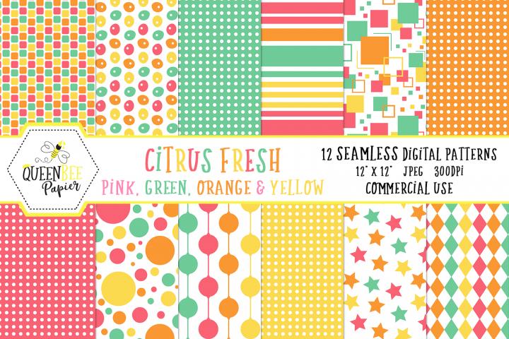 Summer Seamless Digital Patterns, Citrus, Pink, Orange, Yellow, Green
