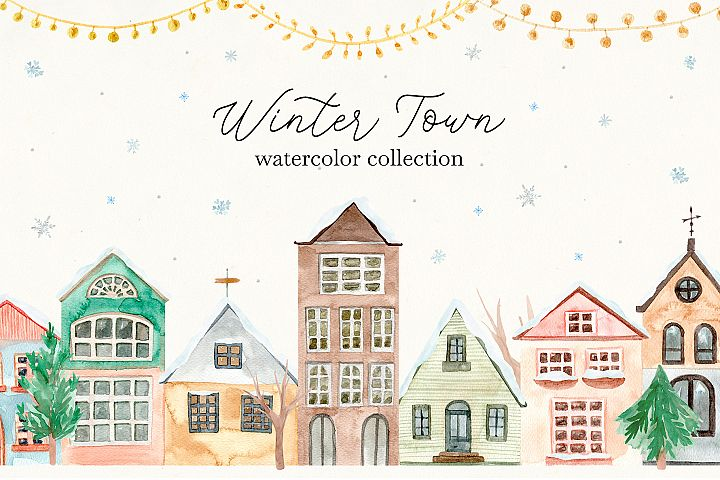 Winter Town. Watercolor Cards