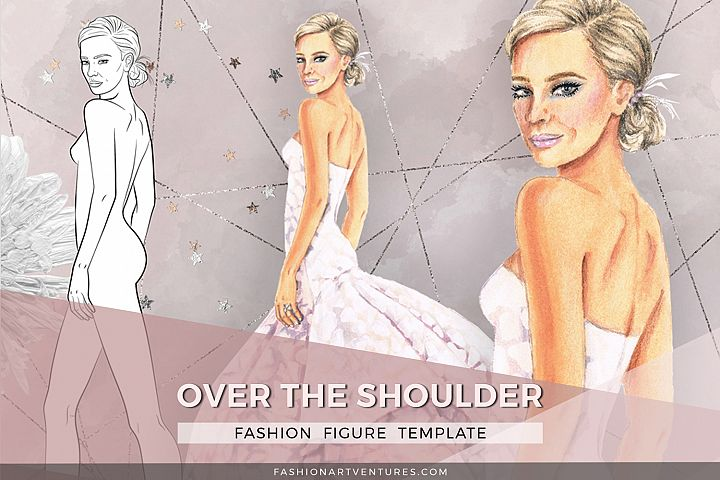 Fashion figure- Over the shoulder, printable fashion croquis