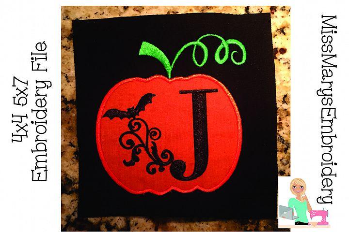 Bat Swirl Pumpkin Alphabet Embroidery