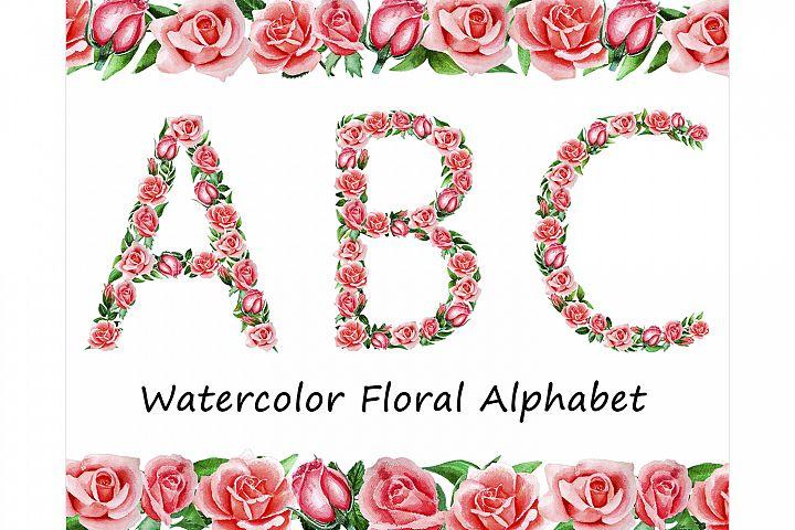 Rose Pink Peach Alphabet Watercolor floral clip art