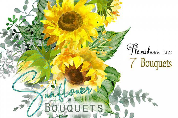 Sunflower Watercolor Clipart Bouquets- Eucalyptus, Daisies