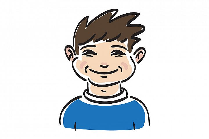 Happy boy face. Cute smile boy. Hand drawn illustrtion.