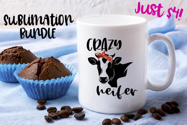 SPVinyl Crazy Heifer Cow Sublimation Design Bundle