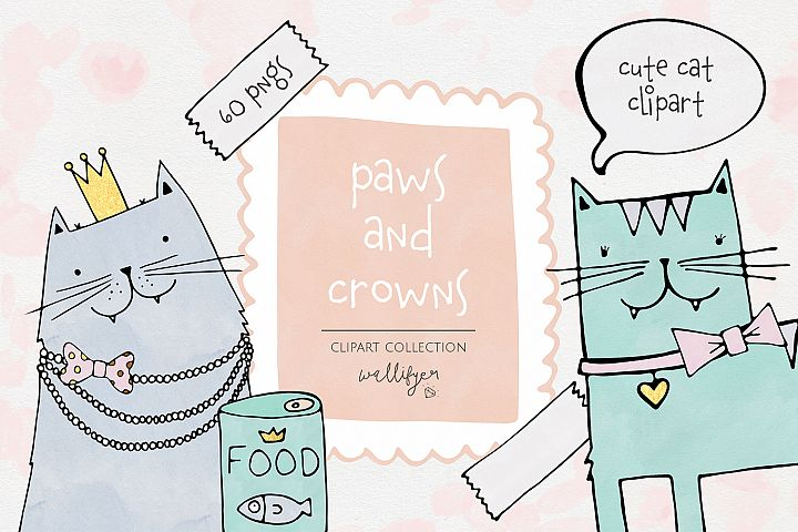 Paws and Crowns clipart collection