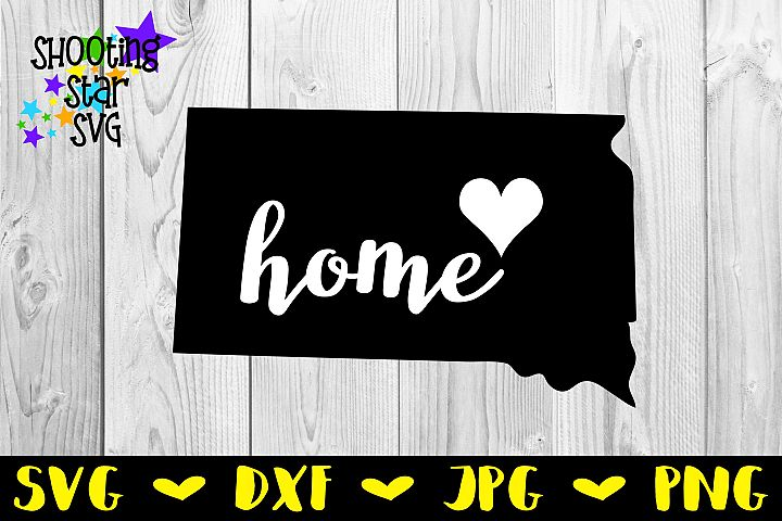 South Dakota Home State with Heart - 50 States SVG
