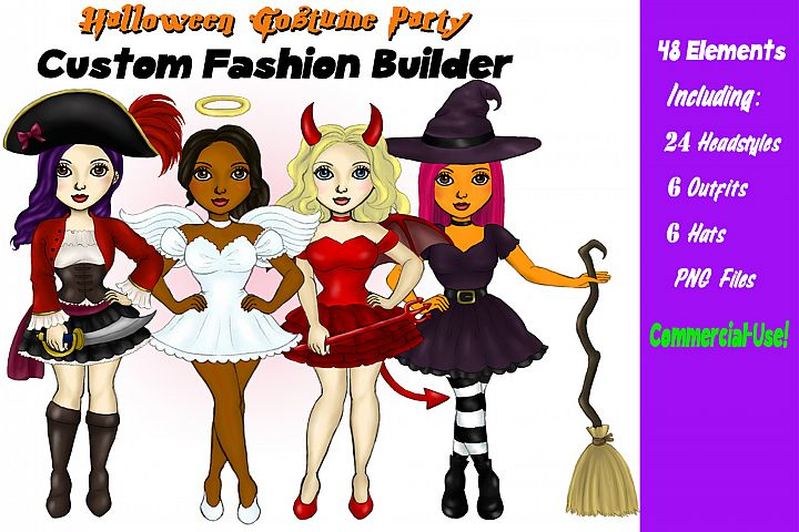 Halloween Girls Clipart Custom DIY Customizable Characters
