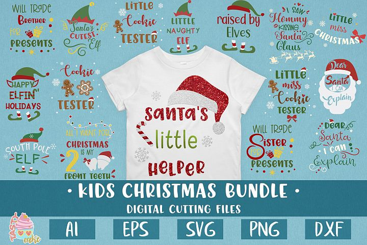 Kids Christmas Bundle SVG - Christmas Shirt Design Cut File