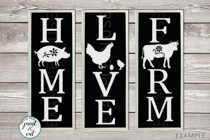 Farm Love Home Vertical Porch signs bundle svg templates