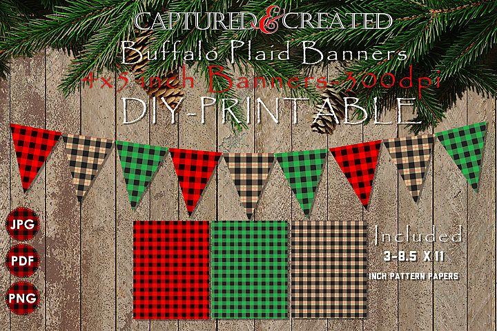 Buffalo Plaid Banners/ Pendants- Printables