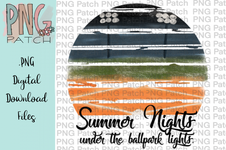 Ballpark Summer Nights, Baseball or Softball PNG Files
