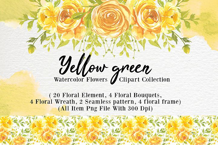 yellow flower watercolor clip-art