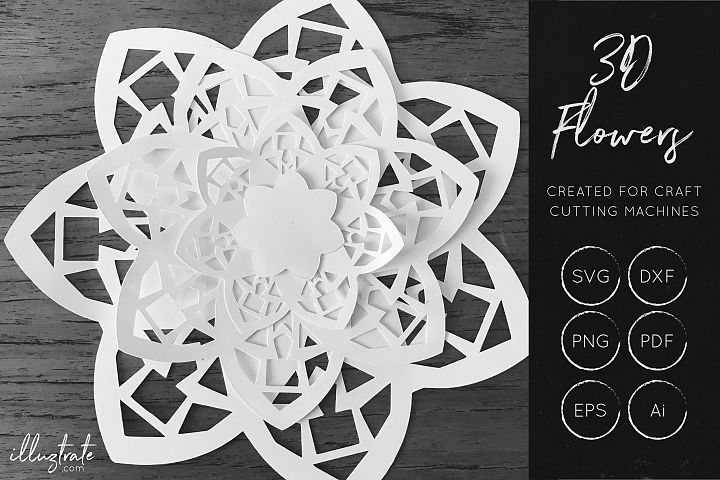 3D Flower SVG Cut Files - Flower SVG - Layered Flower DXF - Free Design of The Week Design 6