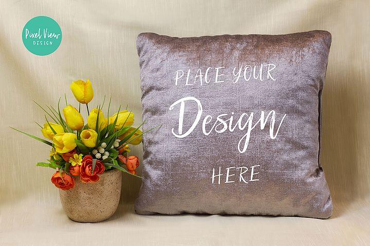 Blank Gray Square Mockup Pillow