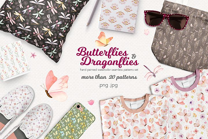Butterflies and Dragonflies Patterns Collection
