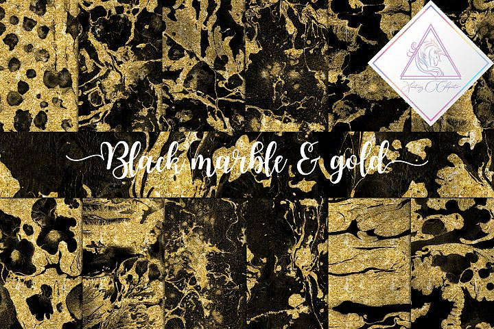 Black Marble & Gold Glitter Digital Paper