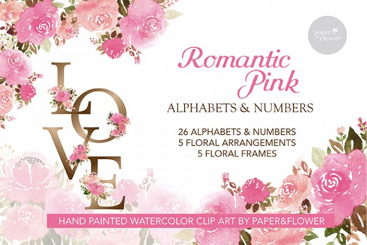 Pink Rose Floral Watercolor Alphabet Set