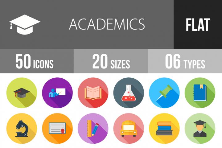 50 Academics Flat Long Shadow Icons