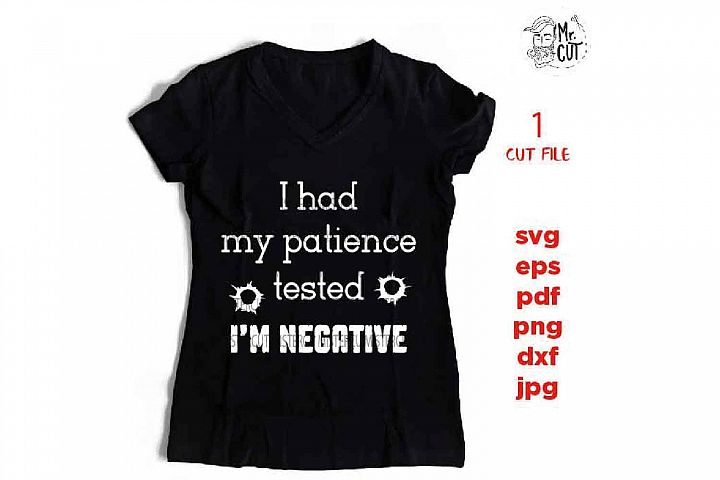 I Had My Patience Tested Im Negative SVG, sarcastic sassy