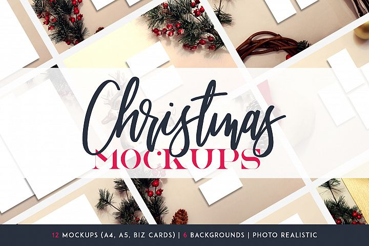12 Christmas Mockups Backgrounds