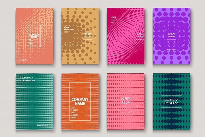 Minimalist modern cover. Dynamic colorful halftone geometric