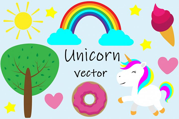 Set of cute unicorn vector