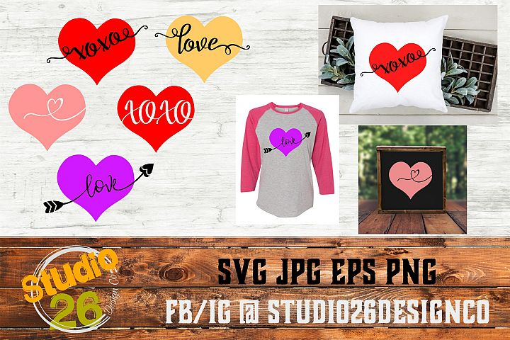 Valentine Hearts Bundle - Love XOXO - SVG PNG EPS example 1