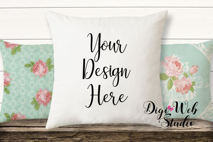 Pillow Mockup - Floral Shabby Chic Pillows on Wood Bench