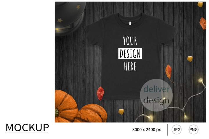 Halloween Black Unisex Toddler Mockup. Bella Canvas 3001T.