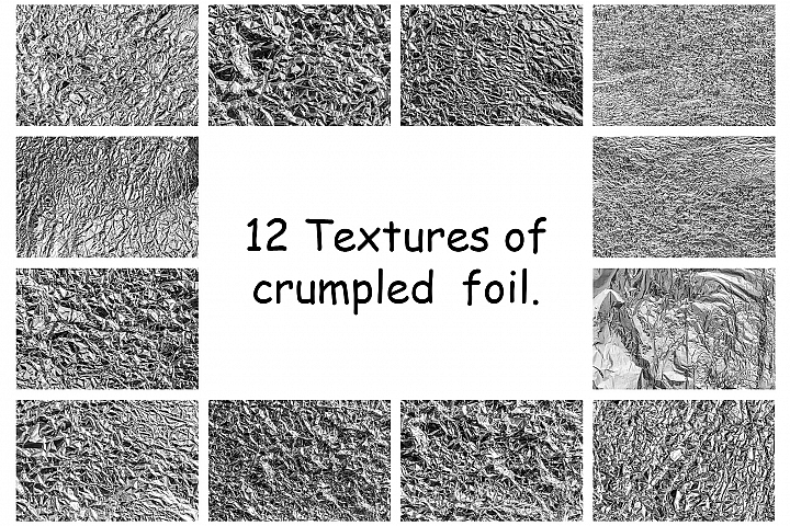 A collection of crumpled aluminium foil backgrounds.