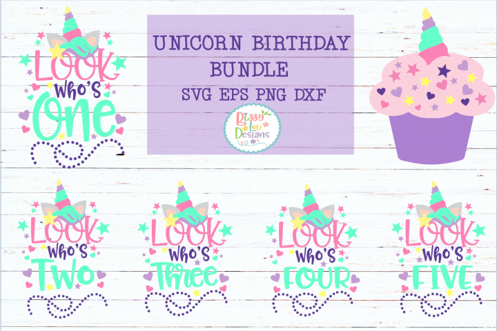 Unicorn Birthday Bundle SVG DXF EPS PNG cutting file