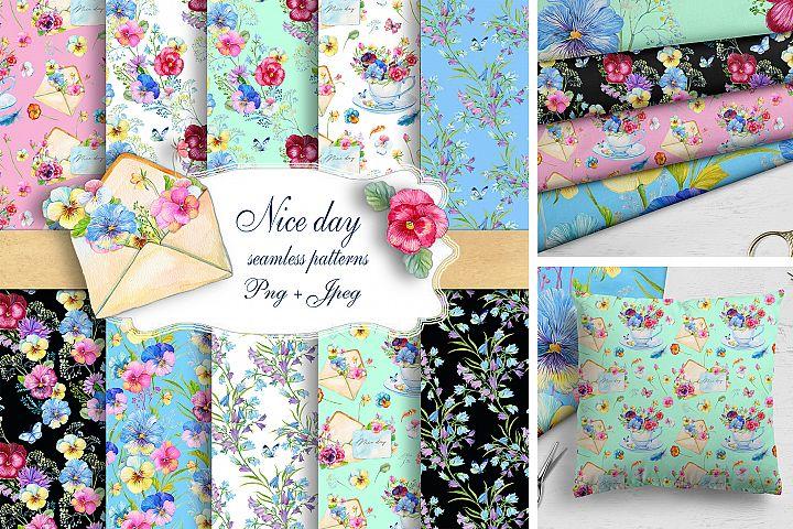 Pansy,Seamless Patterns