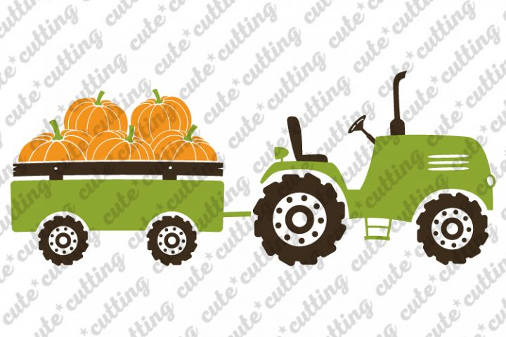 Pumpkin tractor svg, tractor with pumpkins svg, png, dxf,