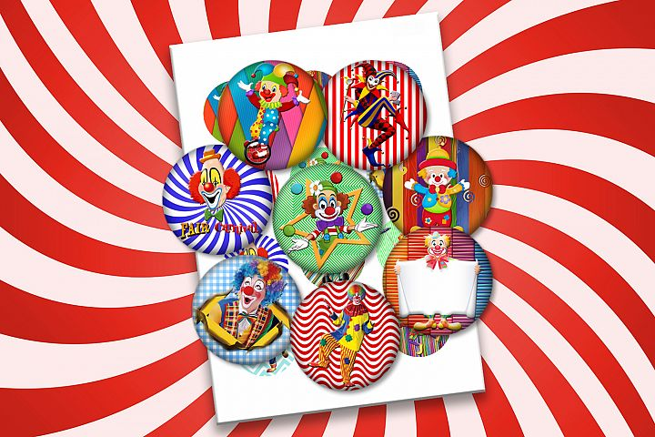 Circus Clowns,2x2, 1.5x1.5, 1x1 inch, 30, 25,20,18mm,sheets