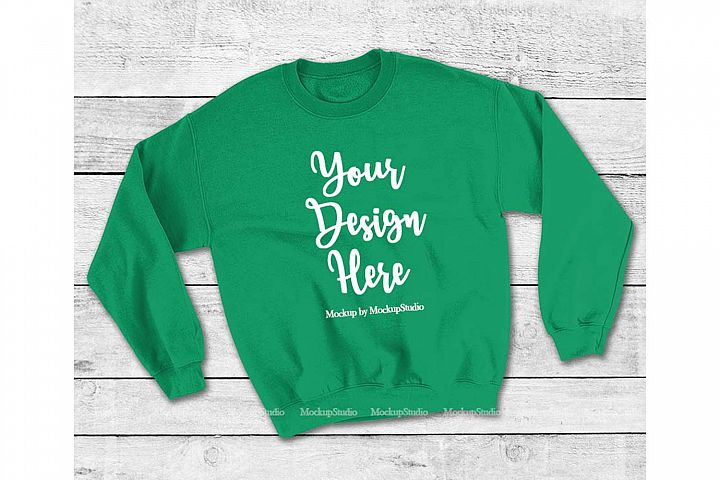 Irish Green Sweatshirt Mock Up, Unisex Sweatshirt Flat Lay