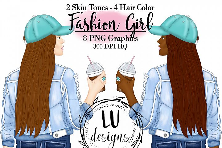 Coffee Girl Clipart, Fashion Girl, Planner Girl Clipart
