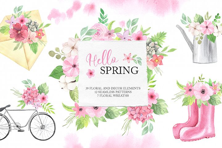 Watercolor Spring Floral Collection