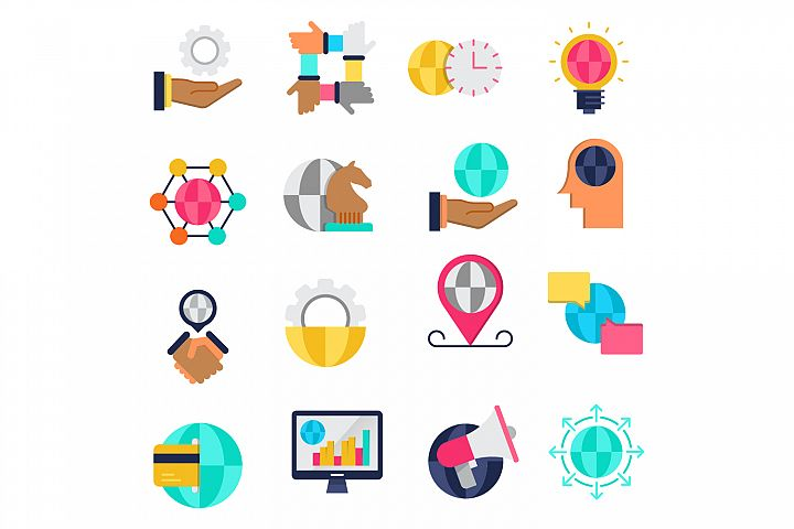 Global business flat icons set